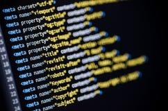 Código do HTML das etiquetas do meta Foto de Stock Royalty Free