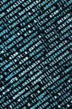 Código do Javascript no editor de texto Conceito do Cyberspace da codificação Tela do código tornando-se da Web fotografia de stock royalty free