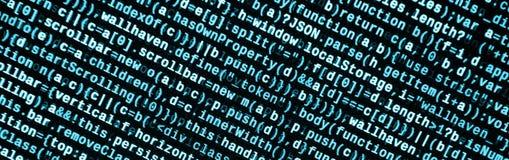Código do Javascript no editor de texto Conceito do Cyberspace da codificação Tela do código tornando-se da Web imagem de stock