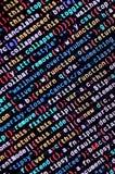 Código do Javascript no editor de texto Conceito do Cyberspace da codificação Tela do código tornando-se da Web fotos de stock