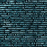 Código do Javascript no editor de texto Conceito do Cyberspace da codificação Tela do código tornando-se da Web foto de stock royalty free