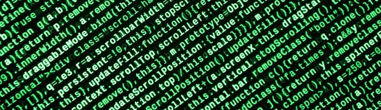 Código do Javascript no editor de texto Conceito do Cyberspace da codificação Tela do código tornando-se da Web imagens de stock royalty free