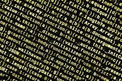 Código do Javascript no editor de texto Conceito do Cyberspace da codificação Tela do código tornando-se da Web imagens de stock
