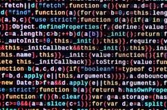 Código do Javascript no editor de texto Conceito do Cyberspace da codificação Tela do código tornando-se da Web fotografia de stock