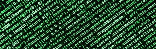 Código do Javascript no editor de texto Conceito do Cyberspace da codificação Tela do código tornando-se da Web foto de stock