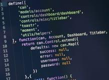 Código do Javascript no tela de computador Fotos de Stock