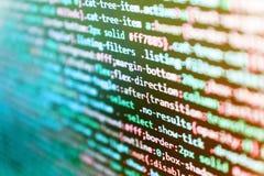 Código do programa com exposição Código do programa e UI/UX visual Tela abstrata de tecnologias do vírus e da codificação do soft fotos de stock