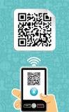 Código do qr do decodificador do telefone móvel Fotografia de Stock