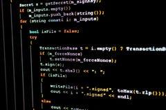 Código fonte de Ethereum, de cryptocurrency e do sistema descentralizado foto de stock
