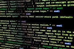 Código fonte de Ethereum, de cryptocurrency e do sistema descentralizado imagens de stock