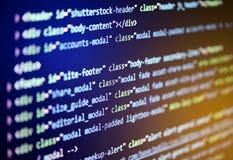 Código fonte do software Código de programação no tela de computador Fotografia de Stock Royalty Free