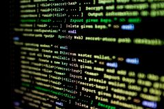 Código fuente de Ethereum, del cryptocurrency y del sistema descentralizado fotografía de archivo libre de regalías