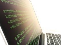 Código fuente de software del fondo del código binario Foto de archivo libre de regalías