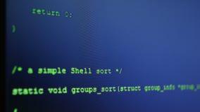 Código fuente del programa Código de programa almacen de metraje de vídeo