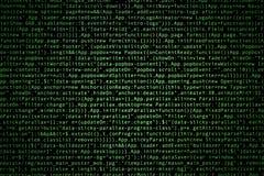 Código fuente del software en fondo oscuro imágenes de archivo libres de regalías