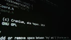 Código fuente en la pantalla de ordenador Concepto de Cybersecurity almacen de video