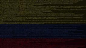 Código fuente y bandera de Colombia Tecnología digital colombiana o animación loopable relacionada programada almacen de video