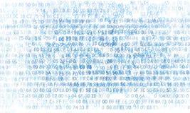 Código hexadecimal que funciona con para arriba una pantalla de ordenador en fondo negro Dígitos azules Fotos de archivo libres de regalías