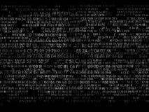 Código hexadecimal que funciona con para arriba una pantalla de ordenador en fondo negro dígitos blancos Foto de archivo
