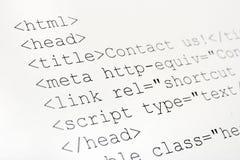 Código impreso del HTML del Internet Foto de archivo libre de regalías