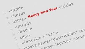 Código impreso del HTML por Feliz Año Nuevo Fotos de archivo