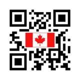 Código legible de Smartphone QR con el icono de la bandera de Canadá ilustración del vector