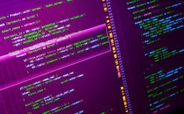 Código macro del PHP en fondo rosado Web que se convierte en la lengua del PHP fotografía de archivo libre de regalías