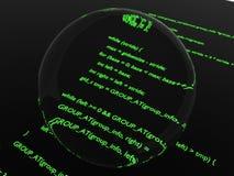 Código magnificado de la programación informática Imágenes de archivo libres de regalías