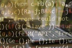 Código programado con el fondo del ordenador del software imagen de archivo libre de regalías