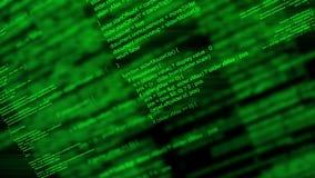 Código programado de la escritura animada abstracta del ordenador como fondo de la tecnología