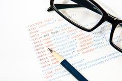 Código programado del HTML fotografía de archivo libre de regalías