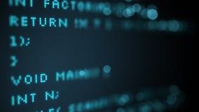 Código programado en foco selectivo de la pantalla de ordenador Fotos de archivo libres de regalías