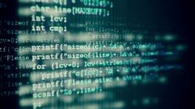 Código programado que corre abajo de un terminal de pantalla de ordenador almacen de video