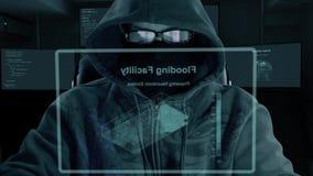 Código que mecanografía del pirata informático Noche y oscuro Primer Dentro trabajo nocturno Software de la codificación del prog almacen de video