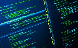 Código verde del PHP en el fondo azul marino en editor de código, macro fotos de archivo