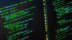 Código verde del PHP en el fondo oscuro en editor de código, macro fotografía de archivo libre de regalías