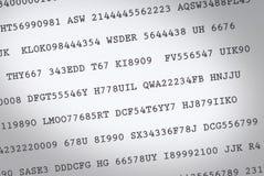 Códigos al azar Fotografía de archivo