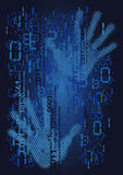 Códigos binários dos números e mãos humanas Foto de Stock Royalty Free
