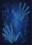 Códigos binarios de los números y manos humanas Foto de archivo libre de regalías