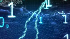 códigos binarios y relámpago en las nubes