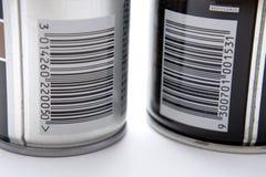 Códigos de barra em latas de pulverizador Fotografia de Stock Royalty Free