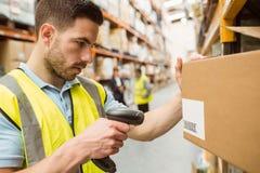 Códigos de barras de la exploración del trabajador de Warehouse en las cajas Imágenes de archivo libres de regalías