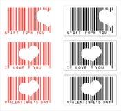 Códigos de barras del amor de la tarjeta del día de San Valentín del vector ilustración del vector