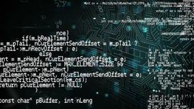 Códigos de programa y cerradura futurista stock de ilustración