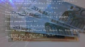 Códigos de programa y euros almacen de metraje de vídeo