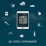 Códigos de QR por todas partes - la respuesta rápida cifra la plantilla infographic del negocio con la tableta en el centro Foto de archivo