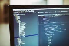 Códigos fuente del final trasero en el monitor de computadora Imágenes de archivo libres de regalías