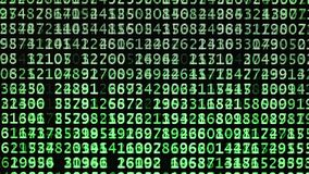 Códigos verdes con la voluta de los números al azar en la pantalla de ordenador para encontrar la contraseña de la clave ilustración del vector