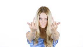 Cójale, mujer enojada que las demostraciones le cogen muestra, el fondo blanco Imagen de archivo