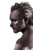 Cólera, soñando, hombre cubierto en el fango, desnudo, en perfil, SK sucia Imagenes de archivo
